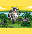 happy raccoon cartoon in the wild vector image vector image