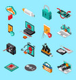 hardware protection icons set vector image vector image