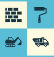 industry icons set collection of truck paint vector image