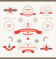 merry christmas festive labels set vector image vector image
