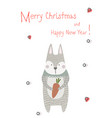 merry christmas greeting card with xmas rabbit vector image vector image
