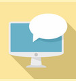 monitor customer chat icon flat style vector image vector image
