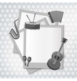 Notecard with music instrument in black and white vector image vector image