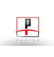 p logo letters with red and black colors and vector image