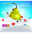pear falling in milk or yogurt with splashes and vector image