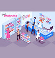 pharmacy isometric indoor background vector image