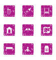 pitch icons set grunge style vector image vector image