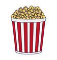 pop corn bucket snack blue lines vector image