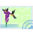 Postage stamps with hummingbirds vector image vector image