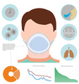 Respiratory infographic man in respiratory mask vector image vector image