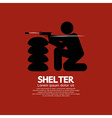 Sandbag Shelter With Gunman vector image