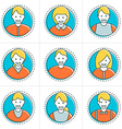 set flat thin line people avatar icons flat vector image vector image