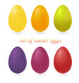set of multi-colored easter eggs isolated on white vector image