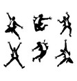 silhouettes of men in jump vector image