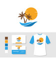 summer palm tree logo design with business card vector image