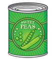 Sweat peas can vector image vector image