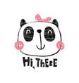 textured panda girl vector image vector image