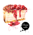 Watercolor sketch cherry cheesecake dessert vector image vector image