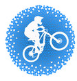 white silhouette of a cyclist on blue background vector image