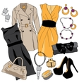 Woman wardrobe clothes accessories set vector image vector image