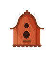 wooden handmade bird house isolated on white vector image vector image