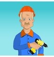 working with a drill vector image