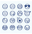 set of hand drawn smiles on realistic paper vector image