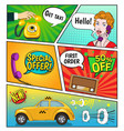 advertising of taxi comic book page vector image vector image