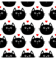 black cat head with little red heart cute cartoon vector image