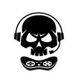 black silhouettes joystick gamer skull isolated vector image