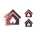 broken pixel halftone building fire icon vector image