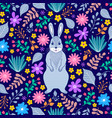 bunny and flowers vector image