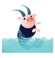 capricorn pig with horns and fish tail vector image vector image
