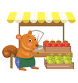cartoon greengrocer squirre vector image vector image