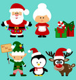 christmas icons collection santa new year vector image vector image