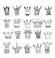 collection hand drawn crowns vector image