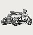 custom racing car vintage monochrome concept vector image vector image