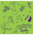 Doodle set Thanksgiving on green backgrounds vector image vector image