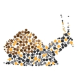 Dotted colorful snail silhouette vector image
