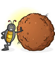 dung beetle with a big ball poop cartoon vector image vector image