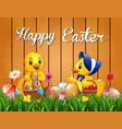 easter greeting with baby duck and a rabbit on the vector image