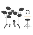 Electronic Drum Set Headphones Drumsticks and vector image vector image