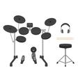electronic drum set headphones drumsticks vector image vector image