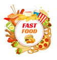 fast food restaurant poster with lunch menu frame vector image vector image