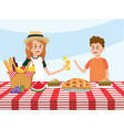 fun girl and boy in the table with basket vector image vector image