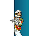 girl woman astronaut point to copy space poster vector image vector image