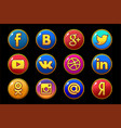 golden and colored icons social media circle vector image