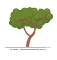 green tree icon line color nature symbol vector image