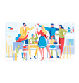 group young people celebrate at home party vector image vector image
