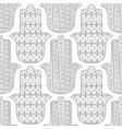 hamsa hand black and white seamless pattern for vector image vector image